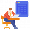Icon of man sitting at table doing calculations on a laptop computer